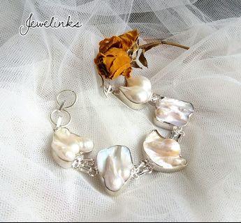 "Beautiful Huge Biwa Pearl Bracelet. Length 7""-8"".  Set in 925 Sterling Silver."