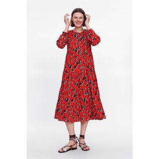 🚚 (BN) 💯 Authentic Zara Floral Printed Midi Dress