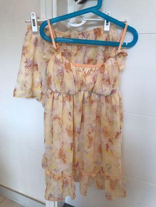 日本橙色噴墨吊帶套裝睡衣