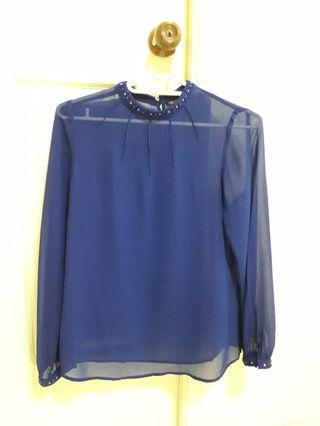 ZARA Navy Blue Formal Long Sleeve Blouse