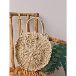 Woven Straw Basket Weave Round Bag