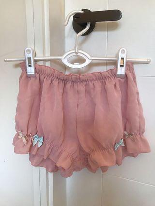 日本粉橙紅色蝴蝶結短睡褲