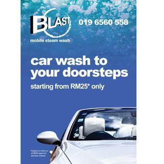 BLAST MOBILE STEAM CAR WASH, WE COME TO YOU !