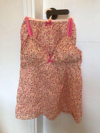 日本GU 橙红色碎花套裝睡衣