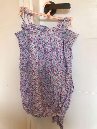 日本GU 紫色碎花吊帶套裝睡衣