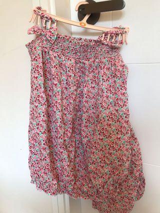 日本GU 紅色粉紅色碎花吊帶套裝睡衣