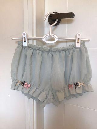日本粉綠色蝴蝶结短睡褲