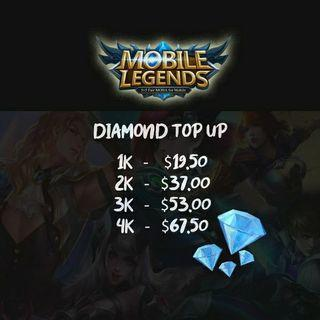 1k - $18  Mobile Legends Diamond