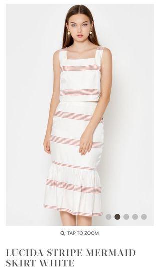Jolie squareneck stripe top and lucida stripe mermaid skirt