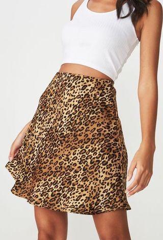 Free Mailing - Leopard Print Mini Satin Skirt