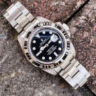 Jam Tangan Pria Rolex Submariner Diamond Type 0012 Automatic Kaca Sapphire Fullset Box Rolex