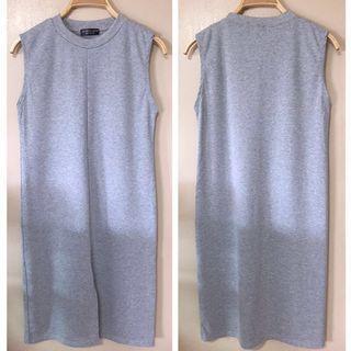 🚚 ✨BN GREY FRONT SLIT CREW NECK SLEEVELESS MIDI BODYCON MAXI DRESS, Size S Fits UK 8