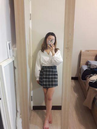 🚚 泡泡袖上衣+格子裙