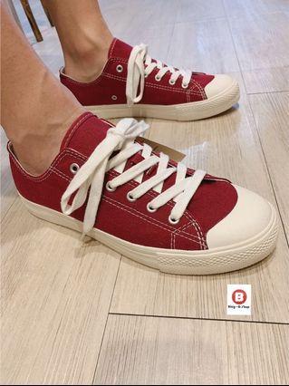 全新 無印良品 男生 休閒鞋 紅 帆布鞋 男生帆布鞋