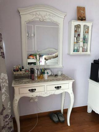 Dressing Table With Mirror and storage unit