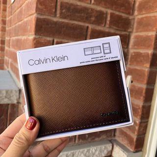 全新男裝Calvin Klein漸變啡色短銀包禮盒裝