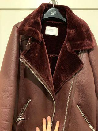 Zara burgundy leather jacket