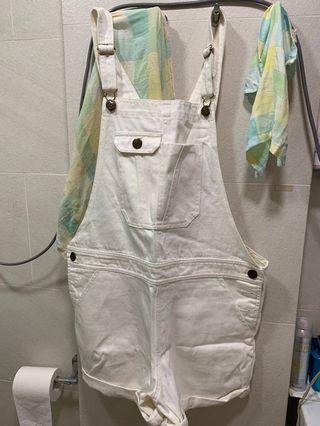 Ungrid white pants one piece 白色工人褲 背帶褲 吊帶褲