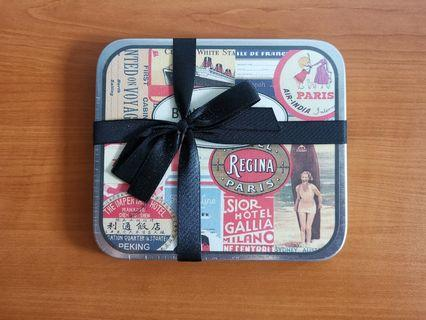 Paris Themed 24 Assorted Stickers in Tin Case