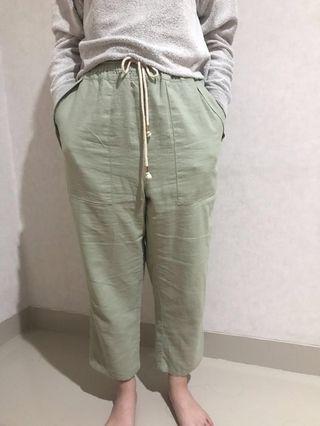 Et Cetera Green Linen Pants