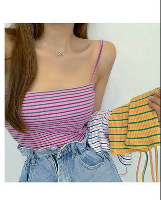 (PO) 4 Colours - Stripe Spag Top