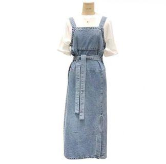 🚚 denim split dress