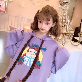 日系萌萌的長髮安妮公主連帽T恤