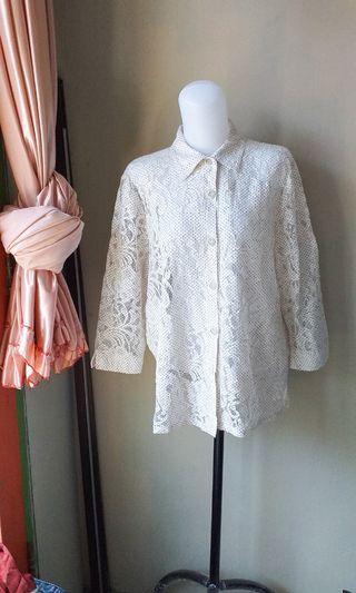 #bapau White Lace Top outer vintage