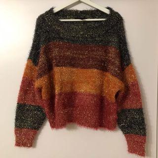Multi colour knitwear 彩色間條閃閃針織冷衫