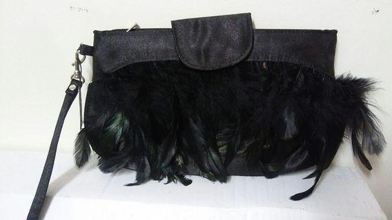 NWT ADORNE BLACK FEATHER SMALL CLUTCH