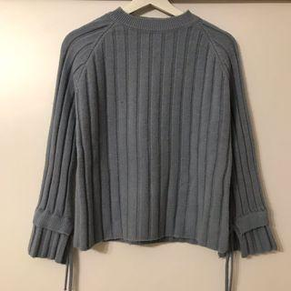 粉藍條紋針織冷衫