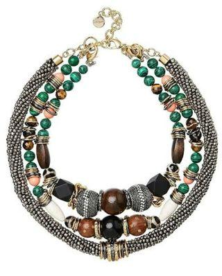 BNWT MIMCO 'MINERALISTIC' EMERALD/GLASS/FACET BEADED STATEMENT NECKLACE