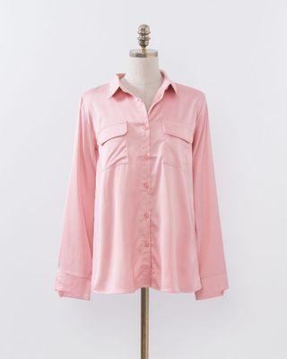 🚚 Mercci22 ⭐️光澤感口袋絲緞襯衫
