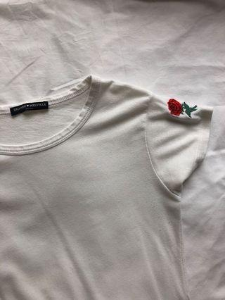 brandy melville rose embroidery top