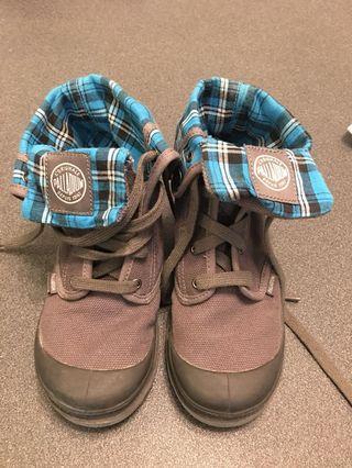 灰色/藍格仔男童鞋