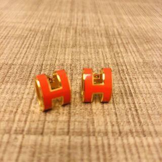 Hermes Enamel Earrings orange w receipt