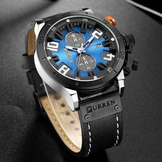 CURREN 時尚男士運動大盤豪華石英手錶 褐色 / 藍色