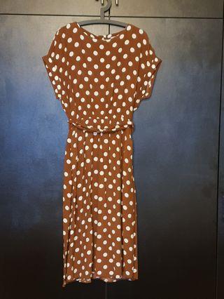 Mango brown polka dot midi dress eur M