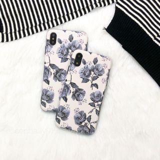 Grey Flora Matte Design Phone Case