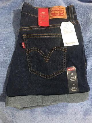 🚚 ❗️降❗️Levi's 反折牛仔短褲 丹寧短褲 深藍 30腰