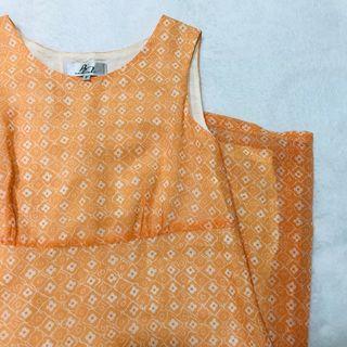 🚚 (古著)無袖橘黃色花花洋裝