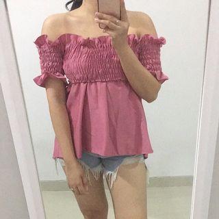 Pink Sabrina Top