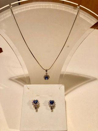 Tanzanite Genuine Silver Necklace and earrings