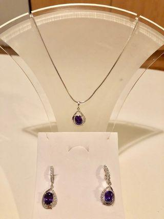 Purple stone genuine silver necklace and earrings - NEW
