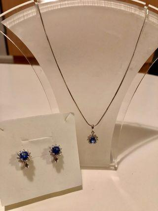 Blue Sapphire genuine Silver necklace and earrings