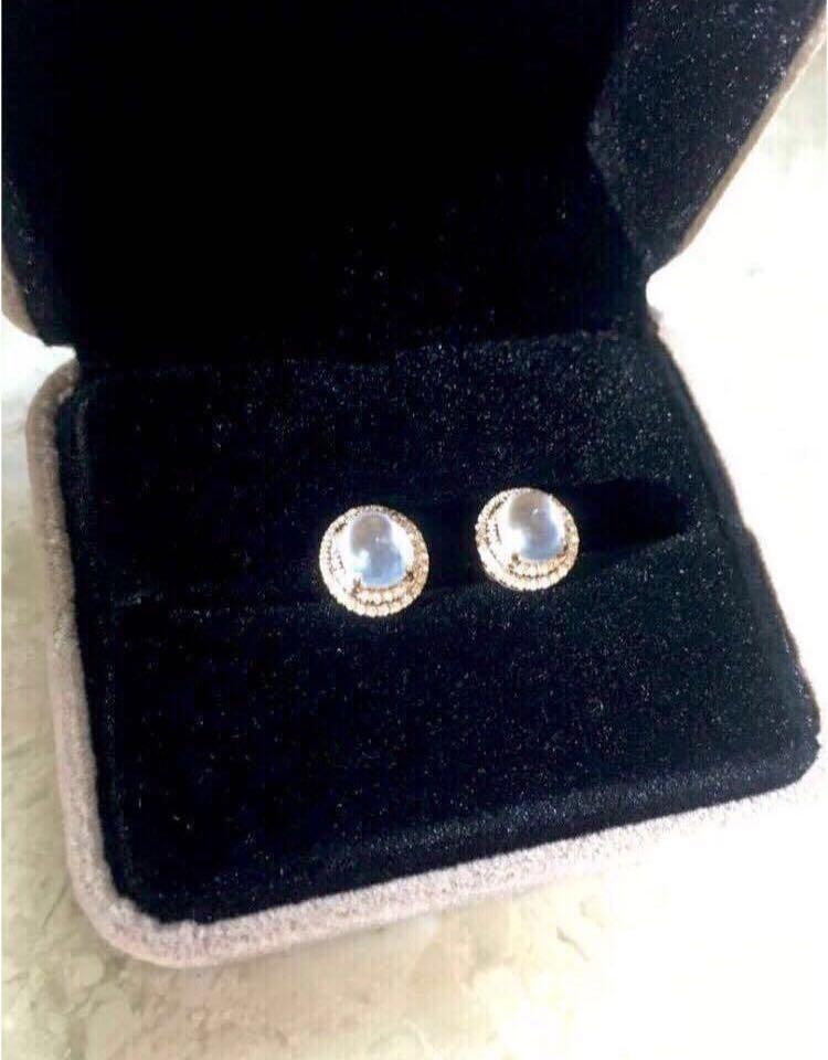 18k金玻璃種翡翠鑽石耳環(附証書)