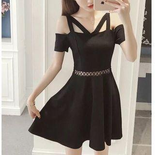 Cutout black mini dress