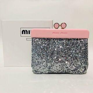 Miu miu silver sequin pouch purse wallet makeup bag