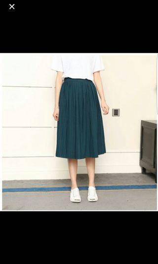 Teal green midi pleated skirt