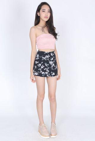 MDS Navy Chiffon Floral Shorts
